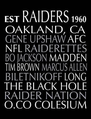Oakland Raiders Print by Jaime Friedman