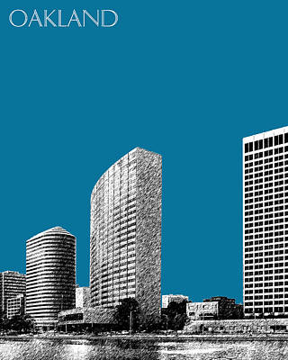 Pen Digital Art - Oakland Skyline 2 - Steel by DB Artist