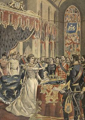 Orange Drawing - Oath Of Constitution Of Queen Wilhemina by French School