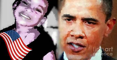 Obama - If I Had A Son He Would Look Like Me Print by Fania Simon