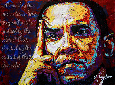 The Obamas Painting - Obama by Maria Arango