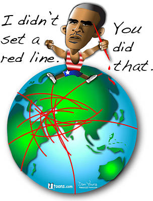 Obama Red Lines Print by Dan Youra