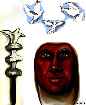 Blue Healer Painting - Obatala -king Of White Cloth by Carmen Cordova