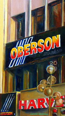 Montreal Buildings Painting - Oberson And Harvey's Sign-building Marquees by Carole Spandau