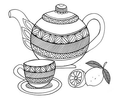 Mandala Drawing - Object Tea Kettle by Neeti Goswami