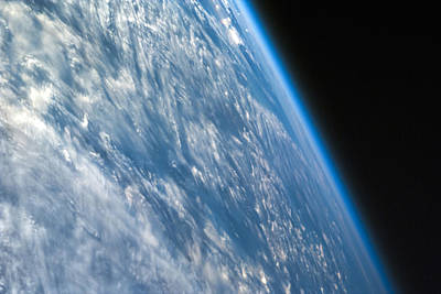 Earth From Space Photograph - Oblique Shot Of Earth by Adam Romanowicz