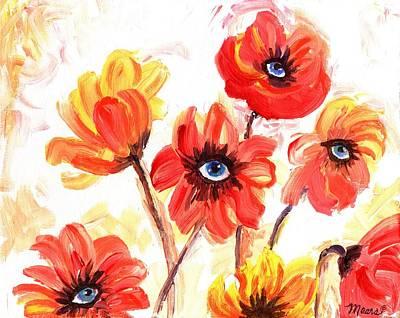 Surrealism Painting - Observant Flowers 101 by Linda Mears