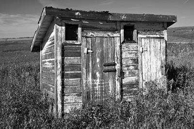 Obsolete Country School Outhouse Print by Donald  Erickson