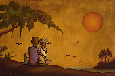 Sunset Painting - Obvious Romance by Bryan Ubaghs