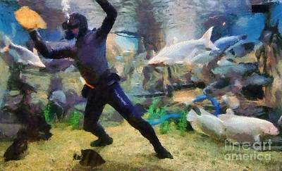 Man Painting - Ocean Aquarium In Shanghai by George Atsametakis