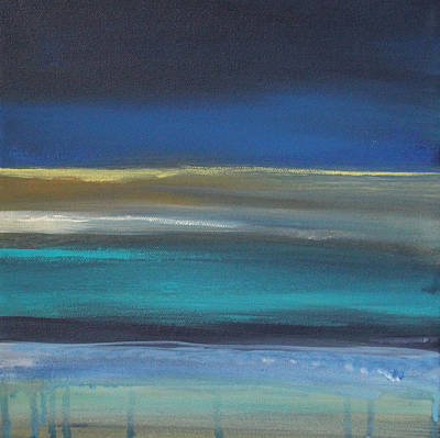 Beige Abstract Art Painting - Ocean Blue 2 by Linda Woods