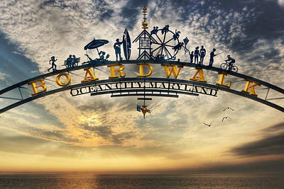 Atlantic Digital Art - Ocean City Boardwalk by Lori Deiter