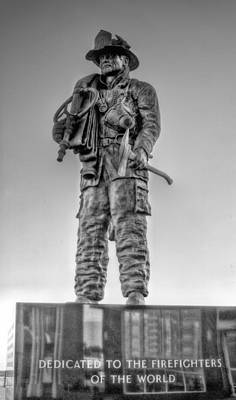 Ocean City Firefighter Memorial Bw Print by JC Findley