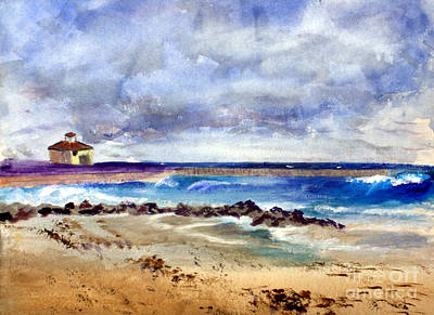 Watercolor Painting - Ocean  Inlet Beach In Boynton Beach by Donna Walsh