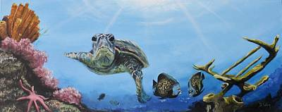 Green Sea Turtle Painting - Ocean Life by Donna Tuten