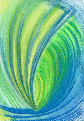Abstract Movement Drawing - Ocean Of Dark And Light by Kelly K H B