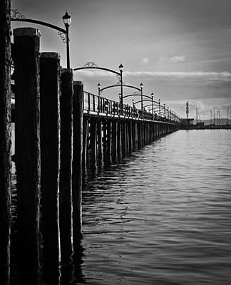 Bridge Photograph - Ocean Pier In Black And White II by Eva Kondzialkiewicz