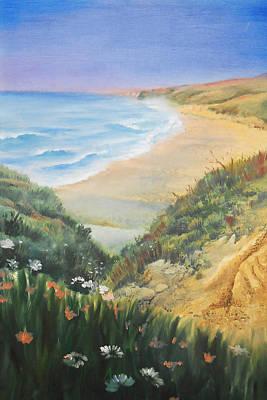 Relax Painting - Ocean Shore Through The Hills by Irina Sztukowski