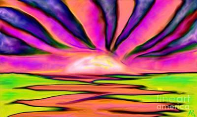 Artrage Painting - Ocean Sunrise Pink Lime by Anita Lewis