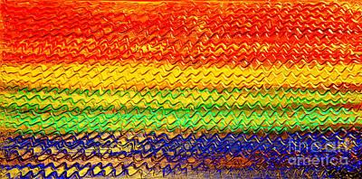 Ocean Sunset - Abstract Oil Painting Original Metallic Gold Textured Modern Contemporary Art Print by Emma Lambert