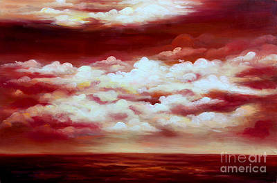 Ocean Sunset - Abstract Oil Painting Original Modern Contemporary Art House Wall Deco Print by Emma Lambert