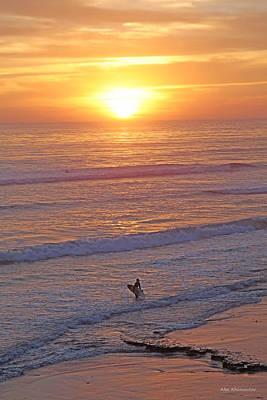 Good Luck Mixed Media - Ocean Sunset Surf  by Alex Khomoutov