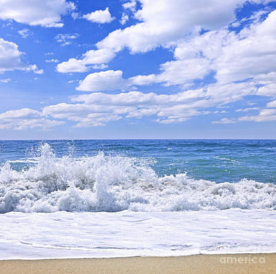 Long Photograph - Ocean Surf by Elena Elisseeva