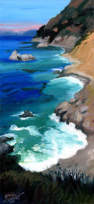 Big Sur Painting - Ocean View At Big Sur by Alice Leggett