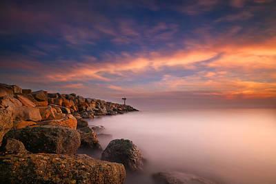 Long Exposure Photograph - Oceanside Harbor Jetty Sunset 4 by Larry Marshall
