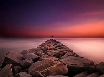 California Ocean Photograph - Oceanside Harbor Jetty Sunset 5 by Larry Marshall