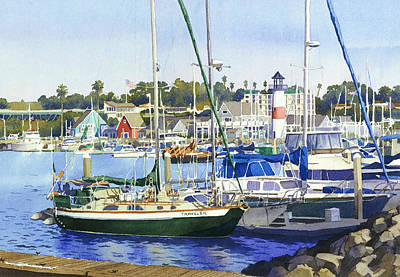 Motor Boats Painting - Oceanside Harbor by Mary Helmreich
