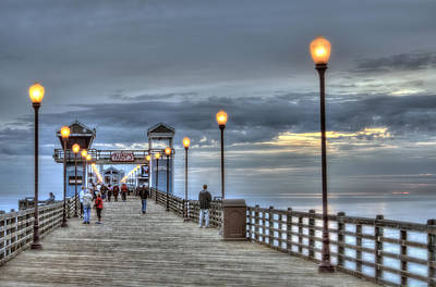 Oceanside Pier At Sunset Print by Ann Patterson