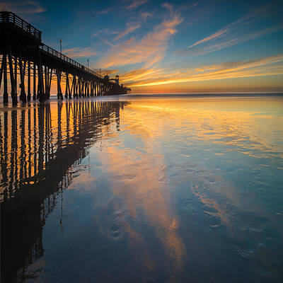 California Ocean Photograph - Oceanside Reflections 2 Square by Larry Marshall