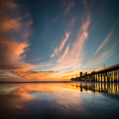 California Ocean Photograph - Oceanside Reflections 3 Square by Larry Marshall