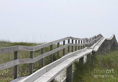 Ocracoke Boardwalk Print by Cathy Lindsey