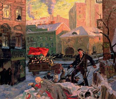 October 1917 In Petrograd Print by Boris Mihajlovic Kustodiev
