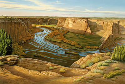Navajo Painting - October Afternoon- Canyon Dechelly by Paul Krapf