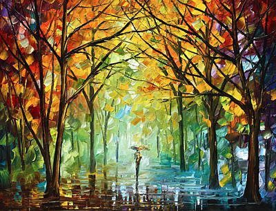 Fog Painting - October In The Forest by Leonid Afremov
