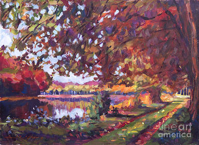 Pathway Painting - October Mirror Lake by David Lloyd Glover