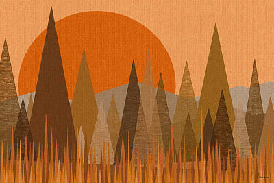 October Sunset Print by Val Arie