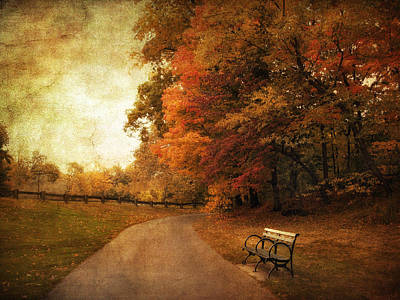 Benches Digital Art - October Tones by Jessica Jenney