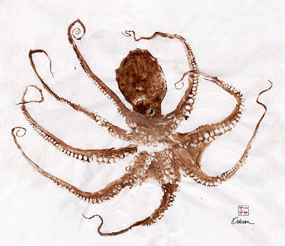 Octopus Gyotaku Print by Odessa Kelley