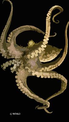 Octopus In Flight Print by George Pedro