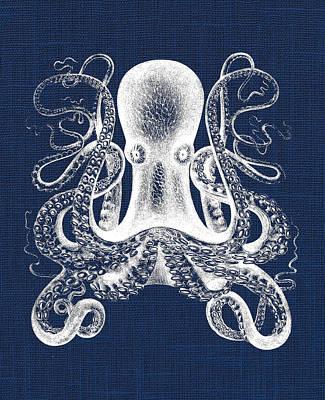 Pirate Ship Digital Art - Octopus Nautical Print by Jaime Friedman
