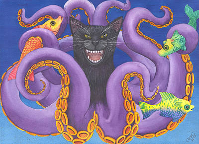 Wicked Kitty Painting - Octopussy by Catherine G McElroy