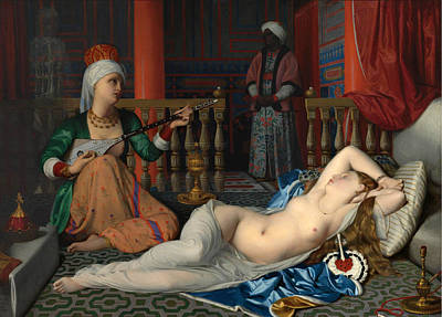 William Mcgregor Paxton Painting - Odalisque With The Slave. Copy After Ingres by William McGregor Paxton