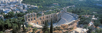 Acropolis Photograph - Odeon Tu Herodu Attku The Acropolis by Panoramic Images