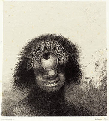 Cyclops Drawing - Odilon Redon French, 1840 - 1916, Le Polype Difforme by Quint Lox