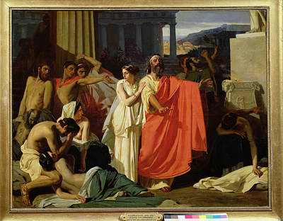 Sacrificial Photograph - Oedipus And Antigone Being Exiled To Thebes, 1843 Oil On Canvas by Ernest Hillemacher