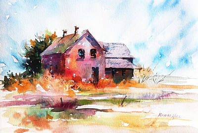 Abandoned Farm House Painting - Of Days Gone By by Renae Hill